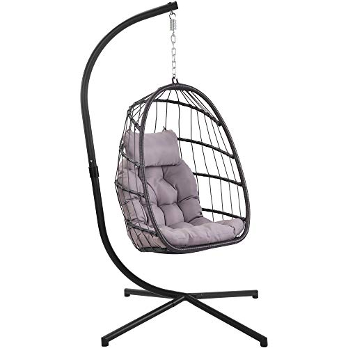 Patio Hanging Egg Chair with Stand Swing Chair,Basket Swinging Chair,Porch Chaise Lounge Chair,Rattan Wicker Hammock Chair with Deep Cushion for Indoor Outdoor Home Bedroom Backyard Balcony (Gray)