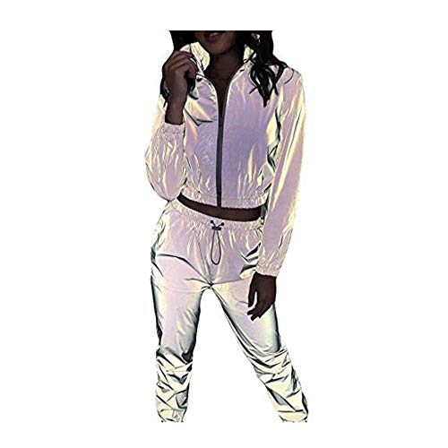 Dasongff Reflektierende Clubwear-Jacke f/ür Damen Frauen Sport Freizeit Hip Hop Tops und Hosen Anz/üge Shine at Night Hip-Hop-Tanzoutfits 2Pcs Trainingsanzug Outfit Set Reflective Jacke