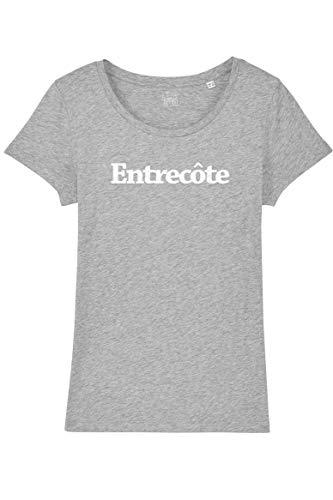 T-Shirt Femme Entrecôte - Gris chiné - M - 100% Coton Bio - Imprimé en France - idéal Cadeau Femme Apéro Cuisine Bouffe Rigolo