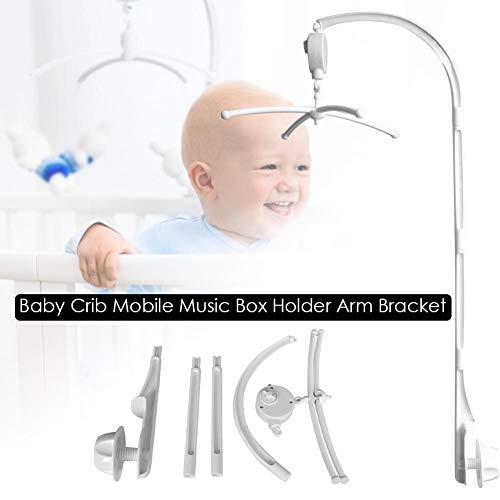Rubyu babybed mobiel bed klok rammelspeelgoed, baby soft muziek mobiele houder, windspel tent hangen baby douche geschenk wooncultuur, wit, 34 inch