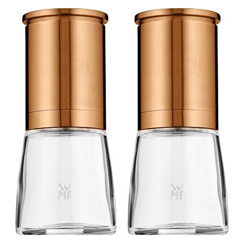 WMF De Luxe - Molinillo de sal y pimienta (2 piezas, sin rellenar, 14 cm, cristal, molinillo de cerámica, molinillo para sal, pimienta, chillischoten, cobre