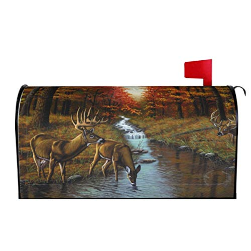 Inked and Screened Forest Deers Fall Mail Covers Magnetic Mailbox Cover Standard Post Letter Box Wraps Garden Decorations
