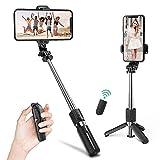 Mini Palo Selfie Trípode,Deerfun Extensible Bluetooth Selfie Stick y...