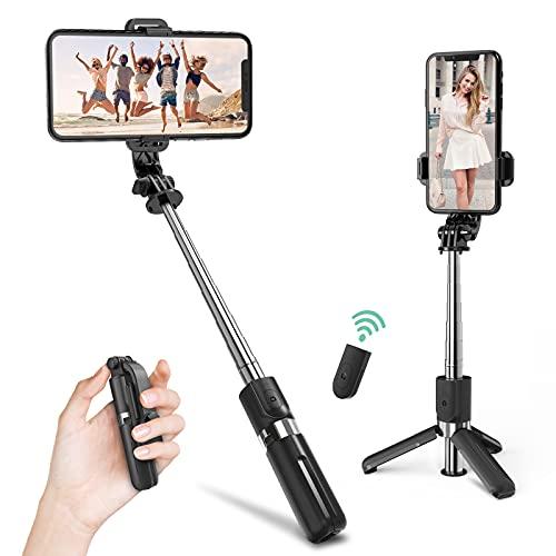 Mini Bastone Selfie, Deerfun Estensibile 4 in 1 Selfie Stick con Silicone antiscivolo Treppiede Smartphone con Telecomando Wireless con iPhone 12 Mini, 12 Pro, 11 Pro Max,XS Max,XS
