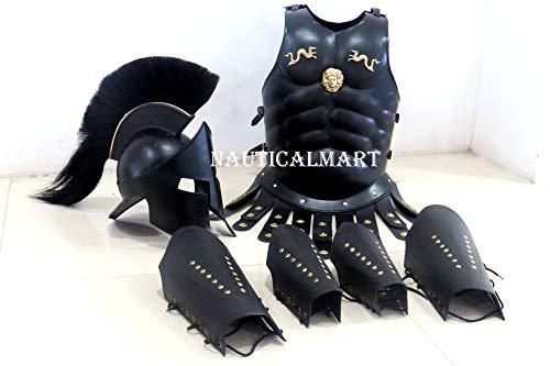 Armadura espartana con protectores de pantorrilla de piel, protectores para los brazos, casco y armadura con músculos de Maximus de la película 300