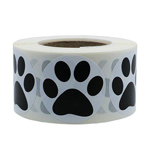 Hybsk 1.5 inch Round Black Bear Paw Print Dog Puppy Paw Stickers (Glossy Paper-Black paw)