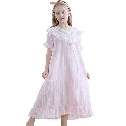 Camisón victoriano para niñas, vestido de dormir para niños y niñas, de 3 a 12 años