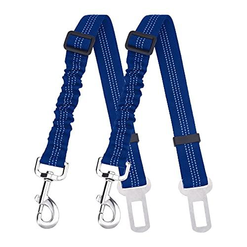 AIBAOBAO Cintura di sicurezza per cani, 2PCS Anti Shock cintura di sicurezza del cane per auto regolabile elastico estensore del guinzaglio del cane Bungee Buffer sicurezza metallo fibbia nylon cane