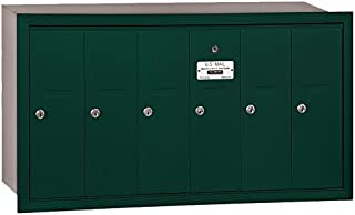 Salsbury Industries 3506GRP Recessed Mounted Vertical Mailbox with Master Commercial Lock, Private Access and 6 Doors, Green