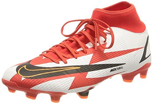 Nike Mercurial Superfly 8 Academy CR7 MG, Soccer Shoe Unisex Adulto, Chile Red/Black-White-Total Orange, 38.5 EU