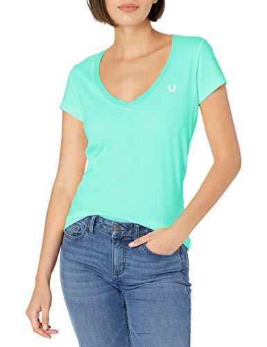 True Religion Damen Logo Puff Short Sleeve Rounded V Neck Tee T-Shirt, Mint, Mittel
