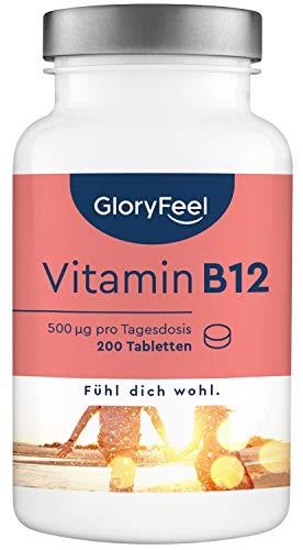 Vitamin B12 Hochdosiert - 200 Stück (13 Monate) - Reines Vitamin B12 Methylcobalamin zur Verringerung von Müdigkeit und Ermüdung* - Laborgeprüft und hergestellt in Deutschland