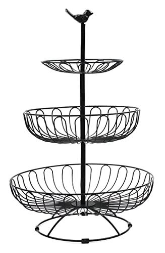 Auroni Obstkorb Filigrane Obstschale Gemüse Etagere 3 stöckig -schwarz-matt- modern Metall Draht-Korb Aufbewahrung Landhausstil sehr dekorativ auf der Arbeitsfläche Küche 47 cm hoch, max. D= 30 cm