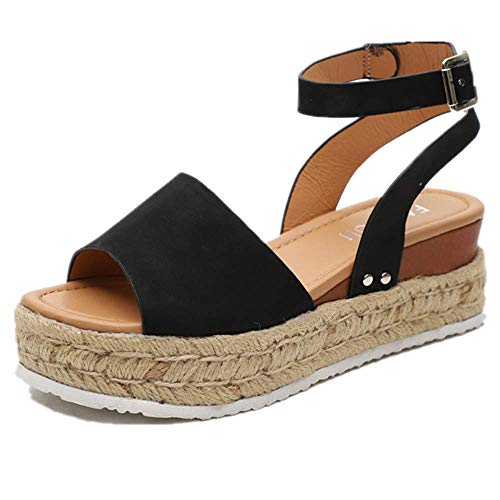 Womens Casual Espadrilles Flatform Studded Wedge Buckle Ankle Strap Open Toe Sandals (Black,8.5 M US)
