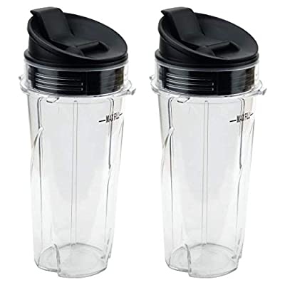 Joyparts Replacement Parts cups for Nutri Ninja Blender, 2 Pack 16oz Single Serve Cup and Sip & Seal Lid Fit for Ninja Series BL770 BL780 BL660 All Pro 4Tabs Blenders by