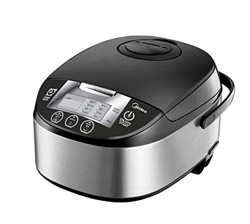 Midea 5 Quart 8-in-1 TasteMaker Rice Cooker/Multi-Functional Cooker (MMC1710-B), Stainless Steel with Black Lid