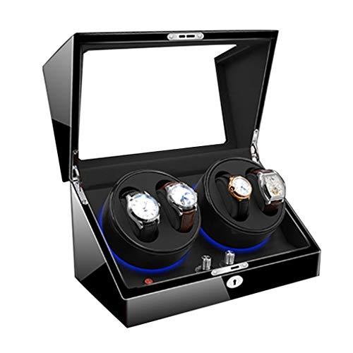 CHYOOO Reloj Caja Lujo Watch Winder Caja Relojes Automaticos Cajas Giratorias LED Caja Almacenamiento Organizador Regalo Caja 4 + 0 Piano Paint 5 Modos De Rotación Caja Almacenamiento Reloj