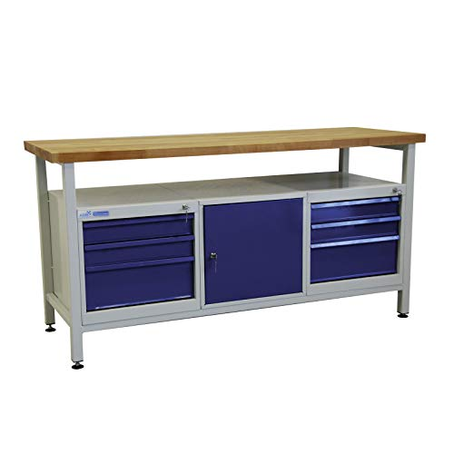 ADB Werkbank Werktisch Werkstatt Arbeitstisch Werkzeugtisch 1700x600x840 mm Werkstatteinrichtung...