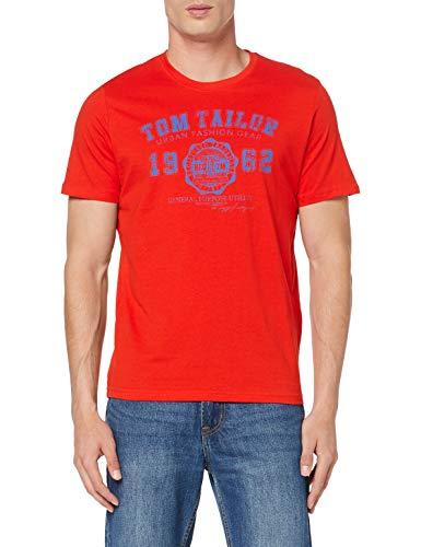 TOM TAILOR Herren Logo T-Shirt, Rot (Basic Red 13189), XXX-Large