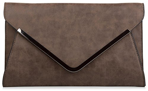 styleBREAKER borsa clutch a busta, borsetta da sera con design a quadri con bretelle e tracolla, donna 02012047, colore:Marrone scuro