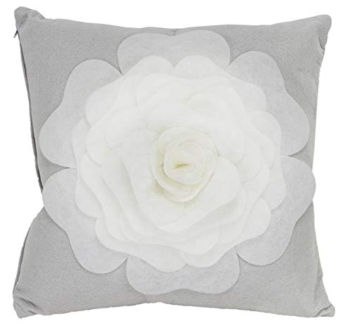 Fennco Styles Large Felt 3D Rose Decorative Throw Pillow Cover & Insert 17 x 17 Inch - Grey Flower Pillow for Couch, Home Décor, Bedroom Décor and Holiday, Housewarming Gift