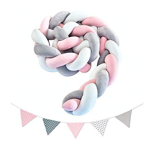 lilime® 2M Bettschlange Pink-Weiß-Grau Inkl. GRATIS Wimpelkette ideal für Nestchen im Babybett - Unsere Bettumrandung für dein Kind - Super weiche geflochtene Schlange für jedes Kinderbett