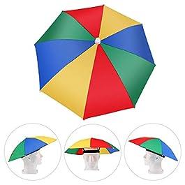 AMACOAM Chapeau Parapluie de Tete Casquette Parasol Anti-UV Nouveauté Adulte Enfant Chapeau Festival Chapeau Portable…