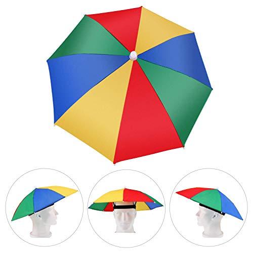 Amacoam Kopfschirm Regenschirmhut Bunt Kopfregenschirm Faltbarer Sonnenschirm Hut Regenschirm Hut Schirmhut Mini Regenschirm für Karneval Festival Strand Angeln Outdooraktivitäten Einheitsgröße