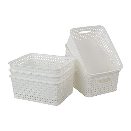 NA Easymanie - Cesta de almacenamiento de plástico blanco, 10.03 pulgadas x 7.67 pulgadas x 4.05 pulgadas, 6 unidades