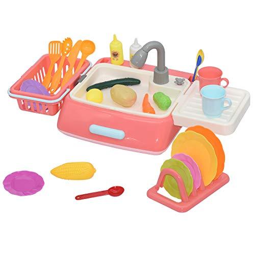 Tosbess Menaje Utensilios Cocina Juguete Fregadero, Cocina Juguete Infantil Escurridor Platos Juego De rol para Niños 3 4 5 Años