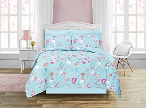 Kids Zone Home Linen 7pc Queen Size Quilt Bedspread Girls/Teens Mermaid Underwater Sea Life Aqua Blue Light Blue Purple Pink White Fishes Shell New