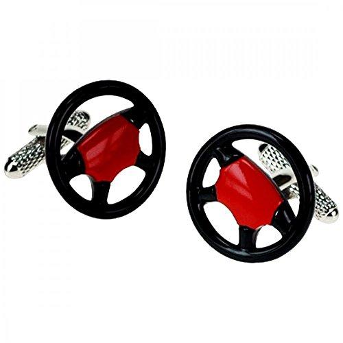 Onyx-Art Volant Voiture Boutons De Manchette Rouge - Noir