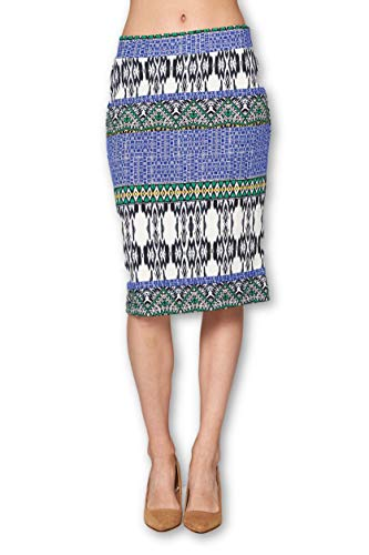 Women's High Waist Knit Stretch Multi Print Office Pencil Skirt (S-3XL) -Made in USA (Blue White, X-Large)