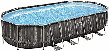 Bestway Power Steel 22' x 12' x 48'' Above Ground Oval Pool Set w/Ladder, Cover, Filter Pump, Replacement Cartridge, Repair P