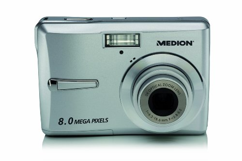 MEDION Life E42008 Digitalkamera (8 Megapixel, 3-Fach Opt. Zoom, 6,9 cm (2,7 Zoll) Display, digitaler Bildstabilisator, Gesichtserkennung, 1GB SD Speicherkarte) Silber