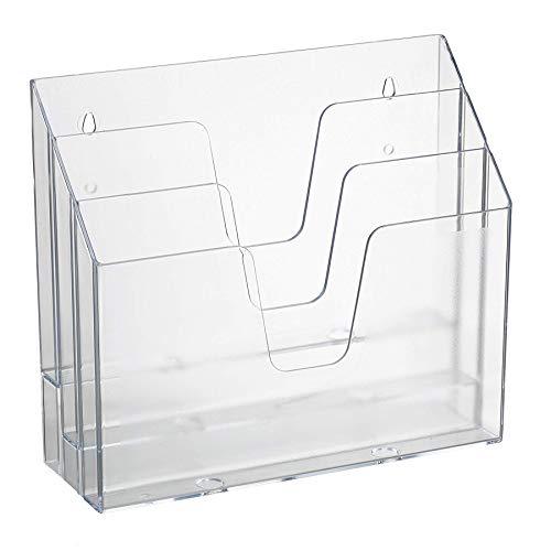 Acrimet Organizador Horizontal de 3 compartimientos para escritorio o pared (Color Cristal)
