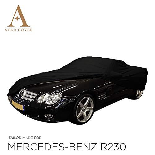 AUTOABDECKUNG SCHWARZ PASSEND FÜR Mercedes-Benz R230 MIT SPIEGELTASCHEN WASSERDICHT AUSSEN VOLLGARAGE IM FREIEN Cover SCHUTZDECKE