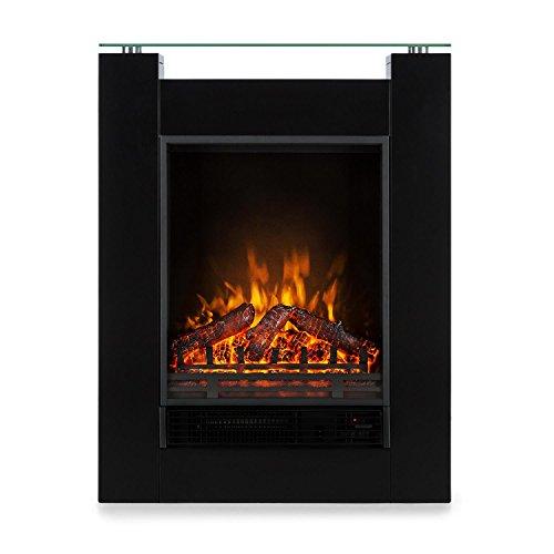 KLARSTEIN Studio 5 - Cheminée électrique, Radiateur soufflant, Flammes Simulation, 5 Niveaux de luminosité et 2 Niveaux de Chauffage, Télécommande, Puissance: 900 ou 1800W, Silencieux, Noir