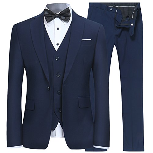Men's Slim Fit 3 Piece Suit One Button Blazer Tux Vest & Trousers, Navy, Medium
