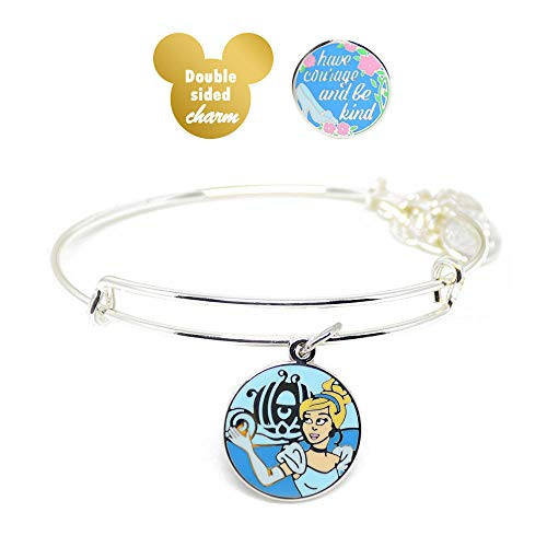 Alex and ANI Disney Parks Cinderella ''Have Courage and Be Kind'' - Double Sided Charm Bangle - Inspirational Quote - Charm Bracelet Jewelry Gift (Silver Finish)