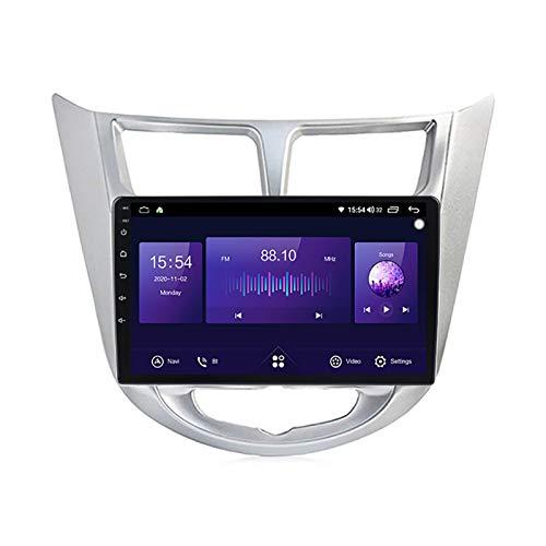 Coche Estéreo Vehículo GPS Adecuado para Hyundai Verna 2010-2016 Coche Estéreo SAT NAV Capacitivo Touch HD Carplay Radio Multimedia Multimedia Radio incorporado Tracker,Plata,8Core 4G+WIFI:2+32G