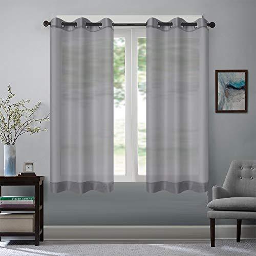 Rose Home Fashion Vorhang Transparent Weiß mit Ösen, 2 Stücke Voile Gardinen aus Terylen Ösenschal für Wohnzimmer Schlafzimmer 175 x 140 cm (H x B), Grau
