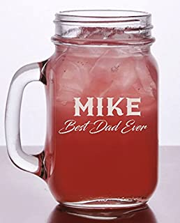 Personalized Drinking Jar with Handle - 16oz