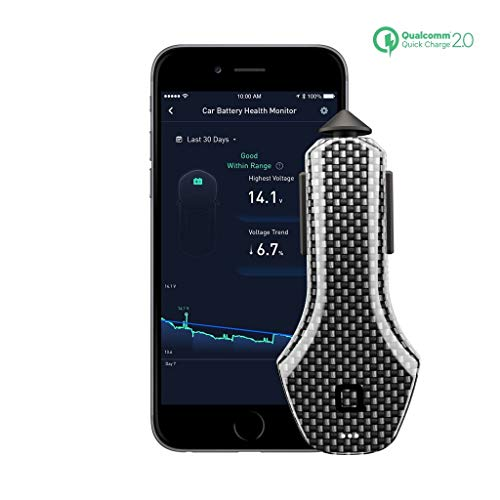 Nonda ZUS接続車App Suite & Qualcomm QC 2.0車充電器カーボンファイバーEdition、カーバッテリーモニター、保存駐車場location-bestのお供Navdy、自動、VYnCs、linxup、Carlock