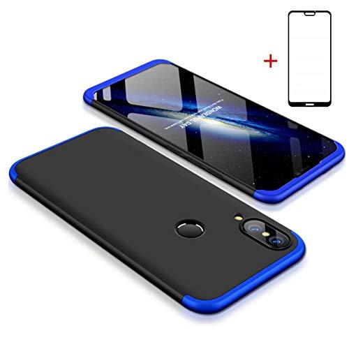 SHYHONG compatibele hoes Huawei P20 Lite hoes 360° telefoonhoes PC harde schaal shell beschermhoes anti-shock bumper 360 graden hoes mat beschermdoos (blauw zwart) + pantserglas