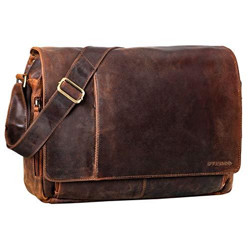 STILORD 'Elias' Bolso de Mensajero o Bandolera de Piel Vintage para Hombre y Mujer Bolsa de Hombro o maletín para portátil de 15.6'' de Cuero auténtico, Color:Kansas - marrón