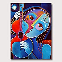 油絵手塗り - 抽象人々ヴィンテージオイルはベッドルームホームデコレーション用のキャンバス、ウォールアートで絵画、24の* 36インチ