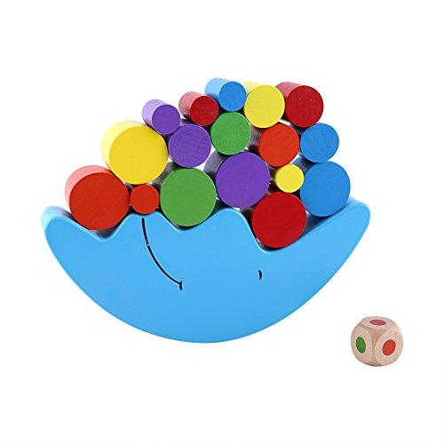 YOUTHINK Juego de Equilibrio de Bloques de apilamiento de Madera, 13 Piezas de Juguetes de clasificación en Forma de Luna Juguetes educativos para niños en Edad Preescolar(蓝色)