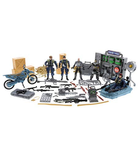 Mozlly Police Special Forces Action Figures & Vehicle Playset, Includes Poseable Military Toy Soldiers Motorcycle Boat Weapons Tools & More for Boys Kids - Battlefield Base Army Navy Seals Theme Sets