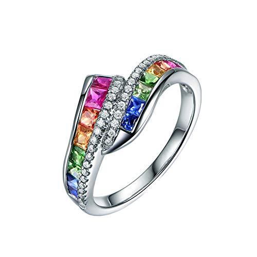 Gems.RDX Anillo para Mujer Oro Blanco 18 Quilates Diamante Multicolor Piedras Preciosas Arco Iris Anillos Aniversario Compromiso de Boda Elegante Novia Esposa Joyería